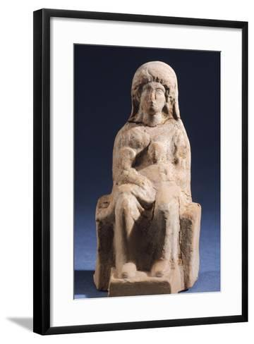 Woman with Child, Terracotta Statue Unearthed in Votive Deposit in Gela, Sicily, Italy--Framed Art Print