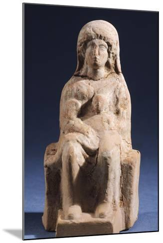 Woman with Child, Terracotta Statue Unearthed in Votive Deposit in Gela, Sicily, Italy--Mounted Giclee Print