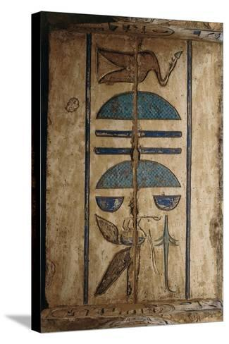Hieroglyph on Ceiling at Colonnaded Forecourt--Stretched Canvas Print