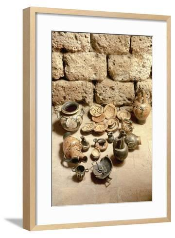 Etruscan Civilization, Funerary Objects Found in Tomb at Cerveteri, Lazio Region, Italy--Framed Art Print