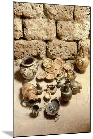 Etruscan Civilization, Funerary Objects Found in Tomb at Cerveteri, Lazio Region, Italy--Mounted Giclee Print