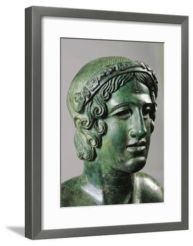 Detail of Lid of a Cinerary Urn with a Portrait of a Reclining Young Man, 400/375 B.C., Bronze--Framed Art Print