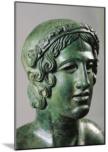 Detail of Lid of a Cinerary Urn with a Portrait of a Reclining Young Man, 400/375 B.C., Bronze--Mounted Giclee Print