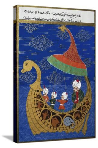 Prophet Noah and the Ark, Ottoman Miniature, Manuscript. Turkey, 16th Century--Stretched Canvas Print