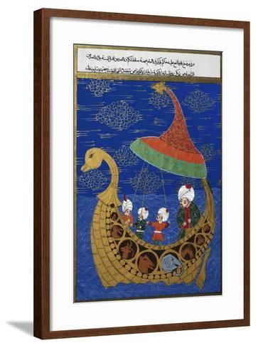 Prophet Noah and the Ark, Ottoman Miniature, Manuscript. Turkey, 16th Century--Framed Art Print