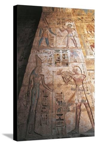 Painted Reliefs of Ramses II Making Offerings to Mut and Amon--Stretched Canvas Print