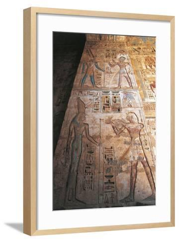 Painted Reliefs of Ramses II Making Offerings to Mut and Amon--Framed Art Print