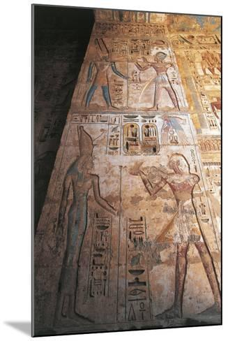 Painted Reliefs of Ramses II Making Offerings to Mut and Amon--Mounted Giclee Print