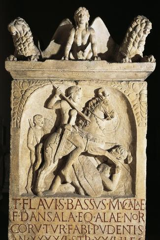 Funerary Stele of Knight Flavio Basso Stationed in Noricum--Stretched Canvas Print