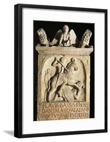 Funerary Stele of Knight Flavio Basso Stationed in Noricum--Framed Art Print