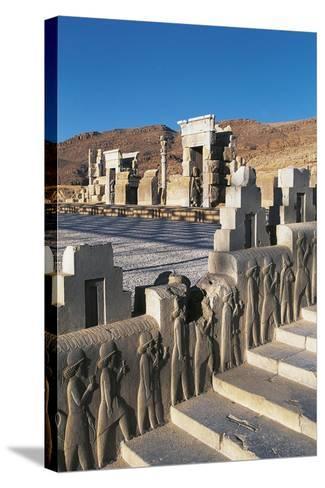 Iran, Persepolis, Council Hall 'Tripylon', Relief of Mede Dignitaries--Stretched Canvas Print