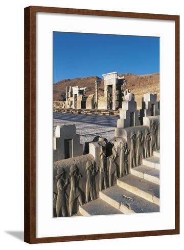 Iran, Persepolis, Council Hall 'Tripylon', Relief of Mede Dignitaries--Framed Art Print