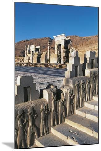 Iran, Persepolis, Council Hall 'Tripylon', Relief of Mede Dignitaries--Mounted Giclee Print