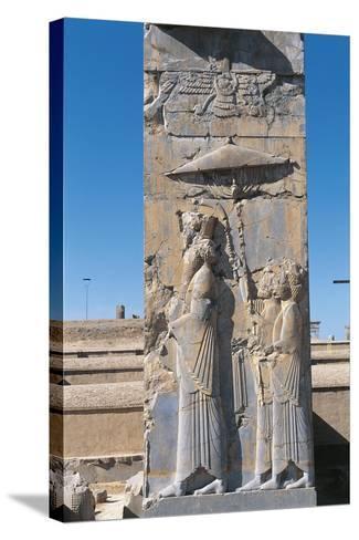 Iran, Persepolis, Council Hall 'Tripylon', Relief of King Darius--Stretched Canvas Print
