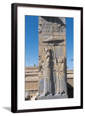 Iran, Persepolis, Council Hall 'Tripylon', Relief of King Darius--Framed Art Print