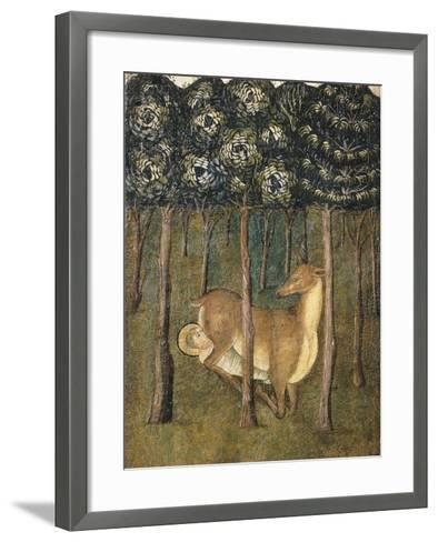 St Eligius Suckled by a Doe, Detail from the Stories of the Life of St Eligius--Framed Art Print