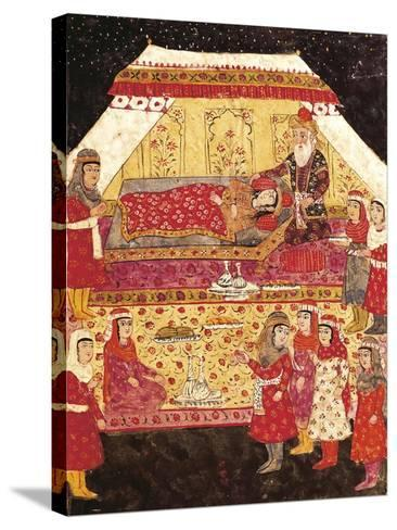 Scene in a Harem, Miniature from Shahnameh or the Persian Book of Kings--Stretched Canvas Print