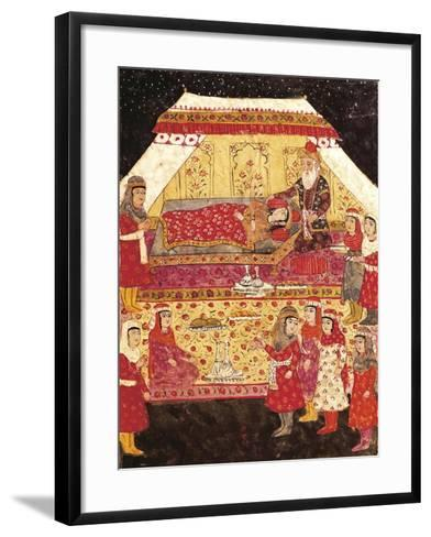 Scene in a Harem, Miniature from Shahnameh or the Persian Book of Kings--Framed Art Print