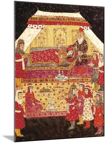 Scene in a Harem, Miniature from Shahnameh or the Persian Book of Kings--Mounted Giclee Print