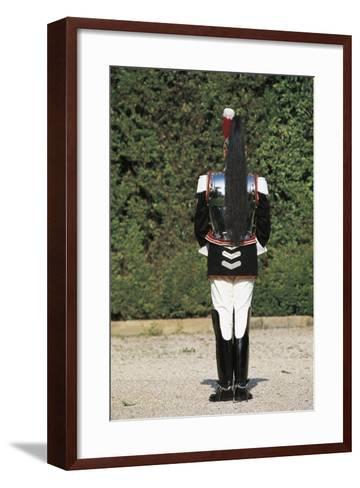 Italy, Corazzieri Soldier in Uniform at Cuirassiers Gala--Framed Art Print