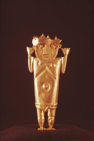 Pre-Inca Mochica Gold Figure, Form Peru, 4th-9th Century--Stretched Canvas Print