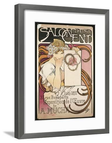 Poster Advertising Salon Des Cent Exhibition by Alphonse Mucha, 1897--Framed Art Print