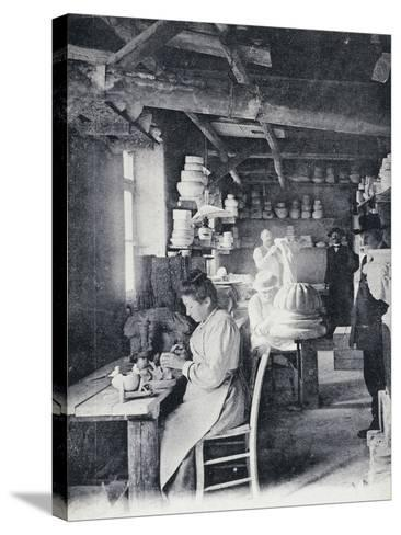 Craftsmen at Work Making Vallauris Art Pottery, Circa 1900, Postcard, France--Stretched Canvas Print
