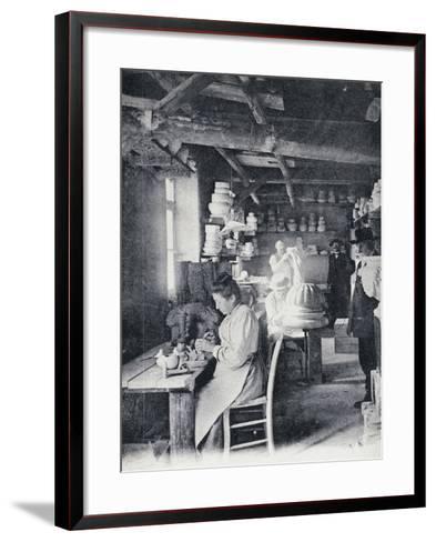Craftsmen at Work Making Vallauris Art Pottery, Circa 1900, Postcard, France--Framed Art Print