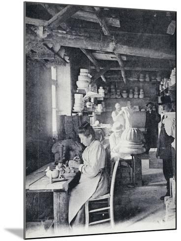 Craftsmen at Work Making Vallauris Art Pottery, Circa 1900, Postcard, France--Mounted Giclee Print