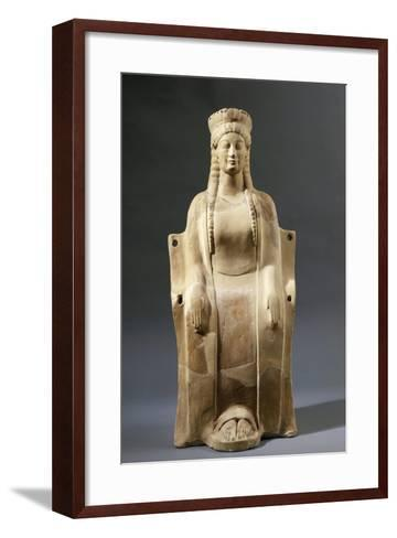 Italy, Calabria, Locri, Mannella Hill, Goddess Seated on Throne--Framed Art Print