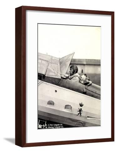 S.M. Le Roi L?opold III Asis Sur Un A?roplane--Framed Art Print