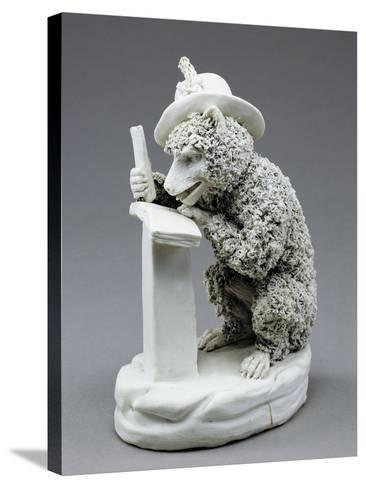 Figure of Seated Monkey Reading, Bisque Porcelain, 19 Cm--Stretched Canvas Print