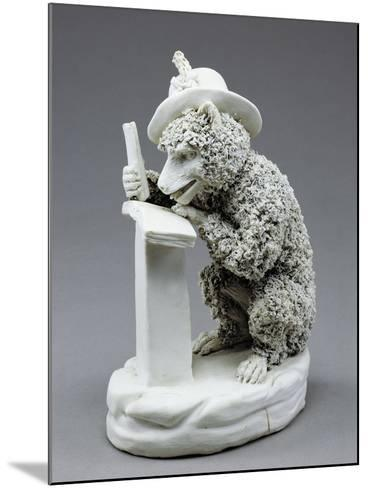 Figure of Seated Monkey Reading, Bisque Porcelain, 19 Cm--Mounted Giclee Print