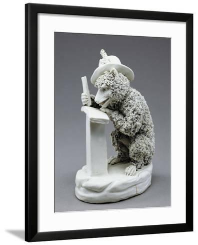 Figure of Seated Monkey Reading, Bisque Porcelain, 19 Cm--Framed Art Print