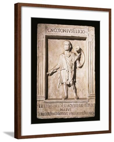 Stele of Trumpeter Cneus Coponius Felicio with Horn on Shoulder--Framed Art Print