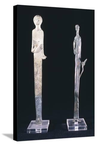 Votive Statues in Bronze Depicting Haruspex Offerers. Etruscan Civilization--Stretched Canvas Print