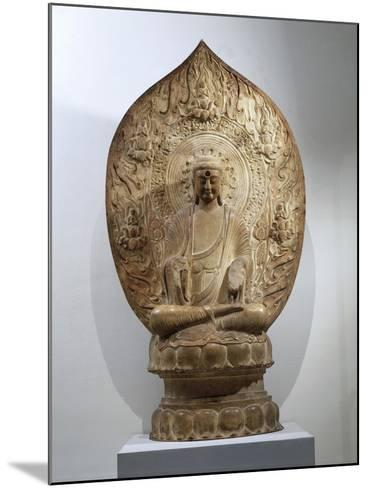 Buddha Amitabha Relief in Northern Qi Style, from the Hebei Province, China--Mounted Giclee Print