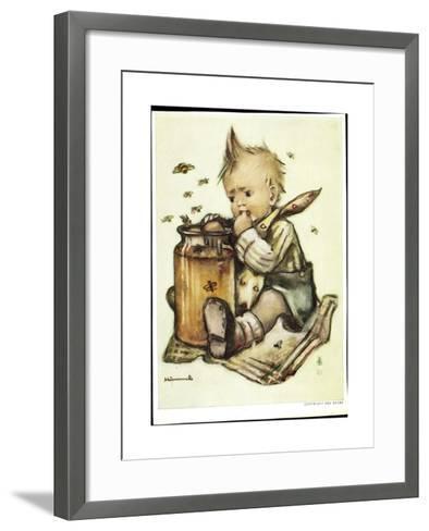 Künstler B. Hummel, Baby Isst Honig, Bienen Fliegen Herum--Framed Art Print