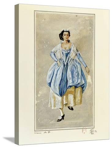 France, Paris, Costume Sketch for Susanna for Performance the Marriage of Figaro--Stretched Canvas Print