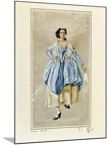 France, Paris, Costume Sketch for Susanna for Performance the Marriage of Figaro--Mounted Giclee Print