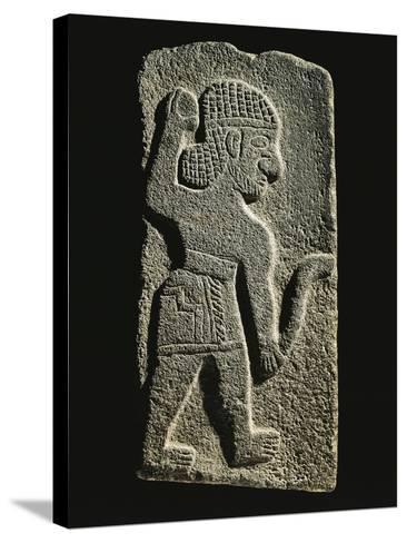 Black Basalt Stela Depicting an Aramaic Warrior--Stretched Canvas Print
