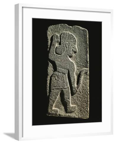 Black Basalt Stela Depicting an Aramaic Warrior--Framed Art Print