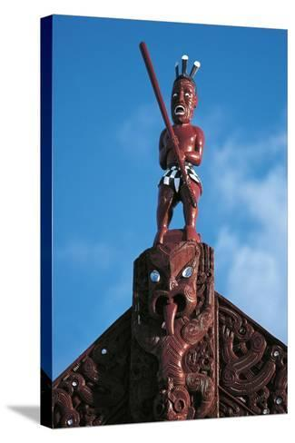 Sculpture Atop Maori Meeting House, Ohinemutu Village, Greater Rotorua, North Island, New Zealand--Stretched Canvas Print