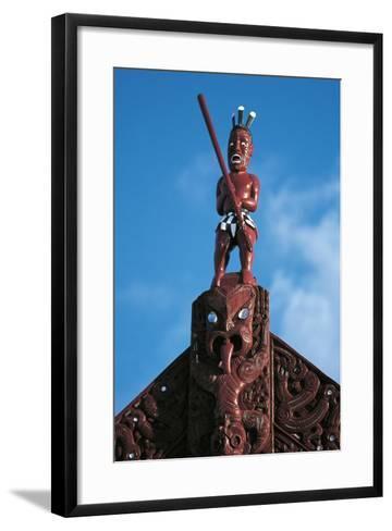 Sculpture Atop Maori Meeting House, Ohinemutu Village, Greater Rotorua, North Island, New Zealand--Framed Art Print
