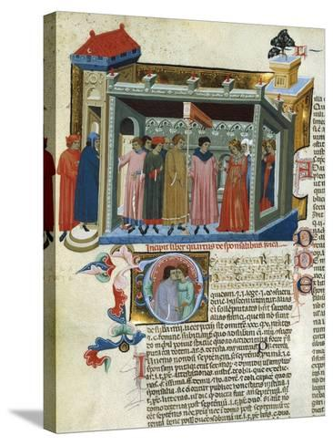 Marriage Contract, Miniature from the Decretals--Stretched Canvas Print