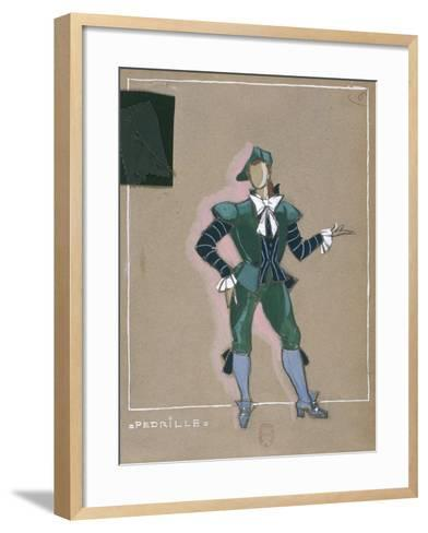 France, Paris, Costume Sketch for Pedrillo for Performance the Abduction from the Seraglio--Framed Art Print
