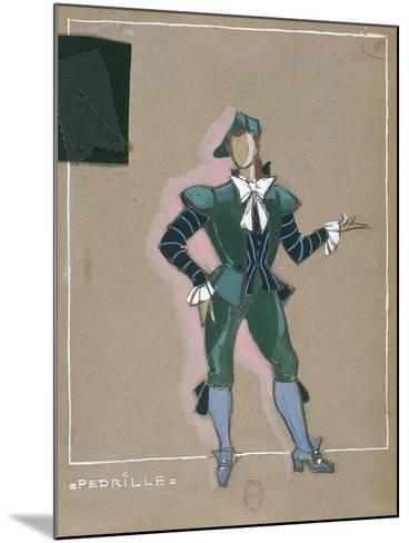 France, Paris, Costume Sketch for Pedrillo for Performance the Abduction from the Seraglio--Mounted Giclee Print