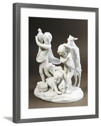 Group Depicting Three Children Playing--Framed Art Print