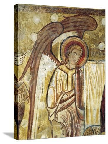 Angel Next to Gospel, Detail from 12th Century Fresco in Church at Abbey of Saint-Andre--Stretched Canvas Print