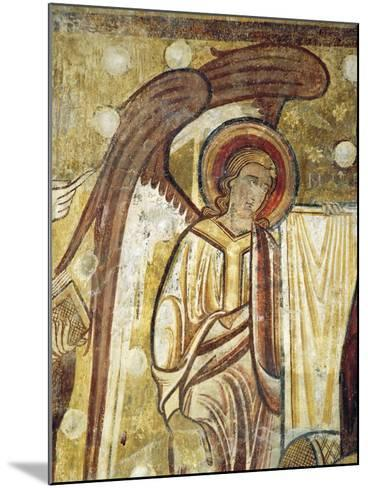 Angel Next to Gospel, Detail from 12th Century Fresco in Church at Abbey of Saint-Andre--Mounted Giclee Print